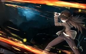 Картинка огонь, меч, аниме, арт, Покемон, Pokemon