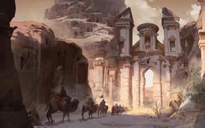 Картинка Portal, fantasy, desert, animals, people, ruins, digital art, artwork, fantasy art, camels, caravan, fantasy city