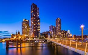 Картинка огни, вечер, Нидерланды, Голландия, Роттердам
