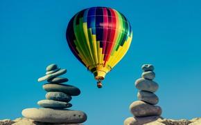 Картинка небо, воздушный шар, камни