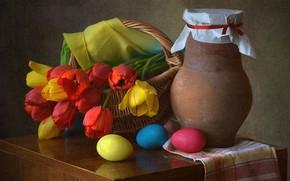 Картинка цветы, драпировка, яйца крашенные, тюльпаны, Пасха, натюрморт, корзина, кувшин