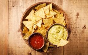 Картинка стол, фон, доски, чашки, кетчуп, чипсы, соусы