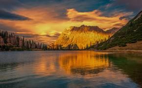 Картинка лес, небо, облака, закат, горы, озеро, отражение, скалы, берег, склоны, ели, водоем