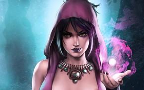 Картинка девушка, магия, ведьма, magic, Morrigan, Dragon Age, witch, Морриган, by Dandonfuga