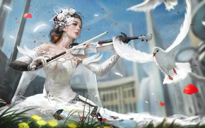 Картинка Девушка, Голубь, Птица, Скрипка, Girl, День, Платье, Арт, Art, Day, Bird, Violin, Dress, Dove, by …