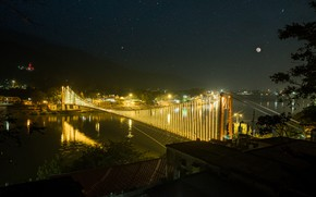 Картинка lights, moon, photography, nature, life, bridge, sony, beauty, india, nightlife, landscap, stard, rishikesh