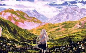 Картинка девушка, горы, природа
