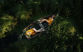 Картинка сон, две девушки, в лодке, Олег Грицун