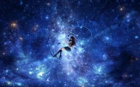 Картинка небо, вода, девушка, рыбы, ночь, отражение, школьная форма, CZY