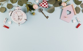Картинка розы, будильник, домик, декор, ключик