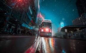 Картинка дорога, снег, улица, Канада, трамвай, Торонто, Canada, Toronto