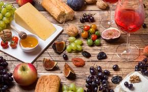Картинка вино, бокал, сыр, мед, виноград, багет, инжир
