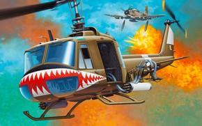 Обои Bell, UH-1, Iroquois, Huey, американский многоцелевой вертолёт