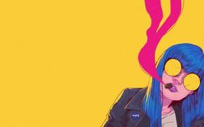 Картинка Девушка, Минимализм, Очки, Стиль, Лицо, Girl, Арт, Art, Style, Сигара, Face, Glasses, Синие волосы, Bruno …