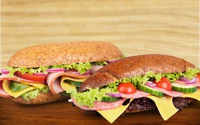 Картинка сыр, хлеб, овощи, помидоры, колбаса, бутерброды, ветчина