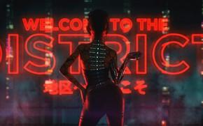 Картинка Девушка, Музыка, Фон, Киборг, Cyber, Cyberpunk, Synth, Retrowave, Synthwave, New Retro Wave, Futuresynth, Синтвейв, Ретровейв, …