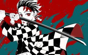 Картинка меч, парень, Demon Slayer Kimetsu no Yaiba