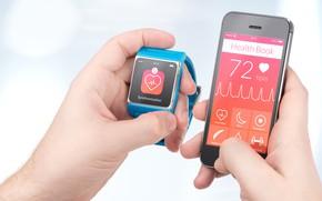 Картинка cell phone, smart watch, synchronization