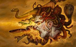 Картинка Девушка, Рисунок, Медуза, Рука, Глаза, Голова, Змей, Art, Фантастика, Medusa, Горгона, Gorgon, Горгона Медуза, Змеи, …