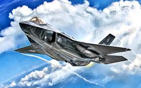 Картинка USA, USAF, Lightning II, Lockheed Martin, F-35A, истребитель пятого поколения, многофункциональный истребитель, наземный истребитель (CTOL)