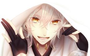 Картинка взгляд, улыбка, арт, капюшон, парень, Touken ranbu