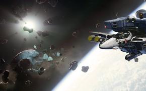Картинка космос, игра, астероиды, космолёты