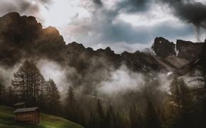 Картинка Природа, Облака, Горы, Туман, Деревья, Гора, Лес, Домики, Пейзаж, Nature, Landscape, Mountain, Trees, Woods, Environment, …