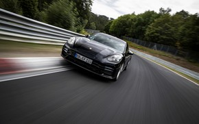 Картинка чёрный, скорость, Porsche, Panamera, Nürburgring, 2020, Nordschleife, предсерийный