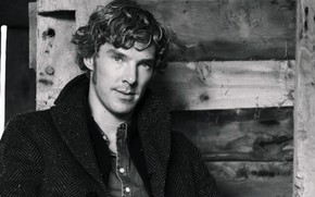 Картинка Бенедикт Камбербэтч, Benedict Cumberbatch, актёр, британский актер, чёрно - белое фото