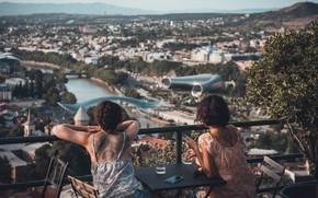 Картинка женщины, мост, река, панорама, Грузия