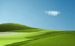 Картинка небо, трава, облака, холмы, Windows