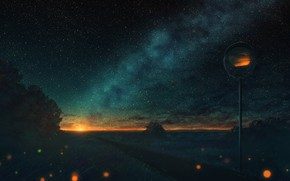 Картинка дорога, солнце, природа, млечный путь, дорожное зеркало
