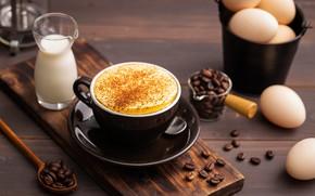 Картинка кофе, яйца, зерна, молоко, чашка, пенка