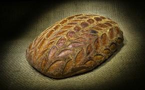 Картинка еда, хлеб, мешковина, листики, булка