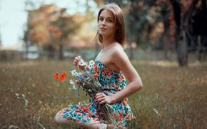 Картинка девушка, цветы, Saulius Ke, Raminta