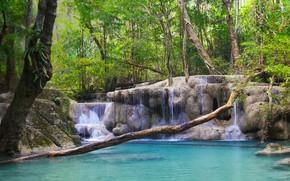 Картинка лес, река, водопад, Таиланд, Thailand, Thailand Waterfall Erawan National Park