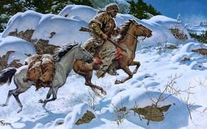 Картинка зима, лес, взгляд, свет, снег, ветки, природа, камни, скалы, одежда, шапка, рисунок, две, кони, картина, …