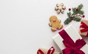 Картинка ленты, подарок, печенье, Рождество, подарки, Новый год, ёлка, Happy New Year, Christmas, New Year, gift, …