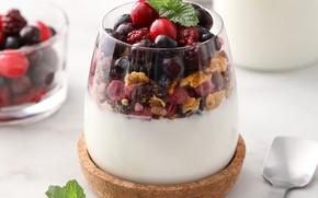 Картинка ягоды, мюсли, йогурт