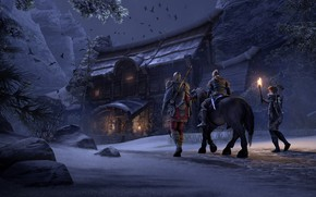 Картинка ночь, дом, люди, игра, The Elder Scrolls Online, 3д графика