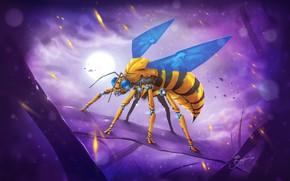 Картинка Стиль, Fantasy, Арт, Art, Style, Фантастика, Fiction, Киборг, Насекомое, Cyborg, Sci-Fi, Wasp, Киберпанк, Insect, Science …