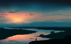 Картинка небо, закат, природа, река, девочка, сумерки, постапокалипсис, by Gracile