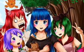 Картинка животные, девочки, аниме