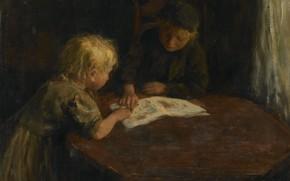 Картинка масло, картина, холст, 1910, Джейкоб Саймон Хендрик Кевер, Jacob Simon Hendrik Kever, Дети с иллюстрированной …