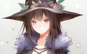 Картинка взгляд, лицо, мех, серый фон, шляпа ведьмы, haruaki fuyuno