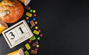 Картинка стакан, конфеты, Halloween, тыква, October