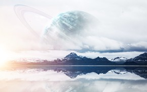 Картинка Отражение, Горы, Озеро, Планета, Вид, Арт, Art, Planet, Фантастика, Уран, Mountains, View, Lake, Reflection, Uranus, …