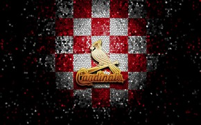 Картинка wallpaper, sport, logo, baseball, glitter, checkered, MLB, St. Louis Cardinals