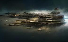 Картинка Корабль, Корабли, Fantasy, Арт, Art, Космический Корабль, Фантастика, Concept Art, Spaceship, Science Fiction, Emmanuel Shiu, …