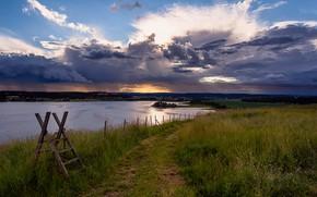 Картинка вечер, Норвегия, речка, Slottsfjell